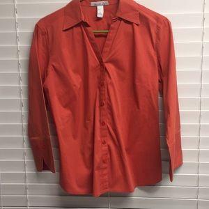 Orange half sleeve button up